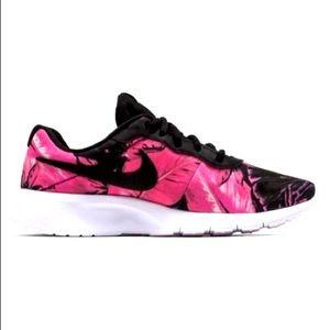 Nike Tanjun Print Black/Pink Youth Shoes Size 5.5